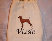 Towel - Pet Lover - Vizsla dog - Embroidered crochet topped hand towel (Free USA Shipping)