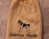 Siberian Husky dog body (grey) - Embroidered crochet topped hand towel (Free USA Shipping)