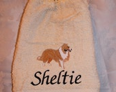 Sheltie dog - Embroidered crochet topped hand towel (Free USA Shipping)