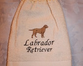 Labrador Retriever dog (yellow) - Embroidered crochet topped hand towel (Free USA Shipping)