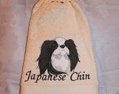 Japanese Chin dog - Embroidered crochet topped hand towel (Free USA Shipping)