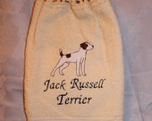 Jack Russell Terrier dog - Embroidered crochet topped hand towel (Free USA Shipping)