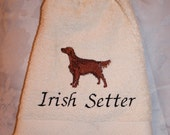 Irish Setter dog - Embroidered crochet topped hand towel (Free USA Shipping)