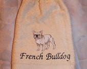French Bulldog - Embroidered crochet topped hand towel (Free USA  Shipping)