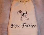Fox Terrier dog - Embroidered crochet topped hand towel (Free USA Shipping)