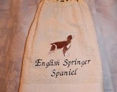 English Springer Spaniel dog (brown) - Embroidered crochet topped hand towel (Free USA Shipping)