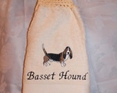 Crochet Embroidered - Basset Hound dog - Embroidered crochet topped hand towel (Free USA Shipping)