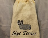 Kitchen Towel - Skye Terrier dog - Embroidered crochet topped hand towel (Free USA Shipping)