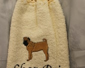 Kitchen Towel - Shar-Pei dog - Embroidered crochet topped hand towel (Free USA Shipping)