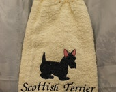 Pet Lover - Scottish Terrier dog - Embroidered crochet topped hand towel (Free USA Shipping)