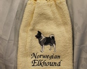 Kitchen Towel - Norwegian Elkhound dog - Embroidered crochet topped hand towel (Free USA Shipping)
