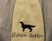 Kitchen Towel - Gordon Setter dog - Embroidered crochet topped hand towel (Free USA Shipping)