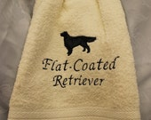 Kitchen Towel - Flat-Coated Retriever - Embroidered crochet topped hand towel (Free USA Shipping)