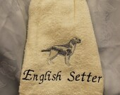 Pet Lover - English Setter dog (beige and grey) - Embroidered crochet topped hand towel (Free USA Shipping)