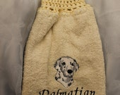 Hand Towel - Dalmatian dog (head) - Embroidered crochet topped towel (Free USA Shipping)