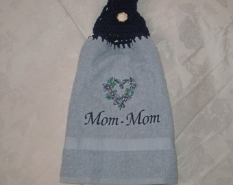 Mom-Mom Flower Heart (blue) - Embroidered crochet topped hand towel (Free USA Shipping)