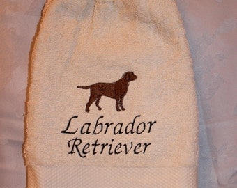 Labrador Retriever dog (chocolate) - Embroidered crochet topped hand towel (Free USA Shipping)