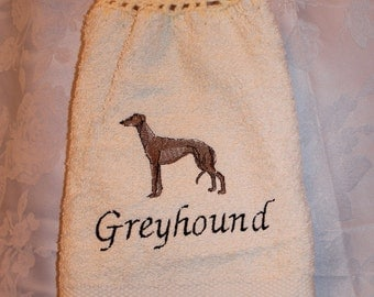 Greyhound dog (body) - Embroidered crochet topped hand towel (Free USA Shipping)