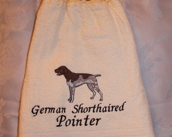 Towel - German Shorthaired Pointer dog - Embroidered crochet topped hand towel (Free USA Shipping)