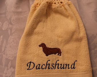 Towel - Dachshund dog (red) - Embroidered crochet topped hand towel (Free USA Shipping)