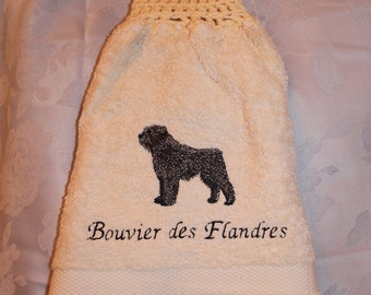 Bouvier des Flandres dog - Embroidered crochet topped hand towel (Free USA Shipping)