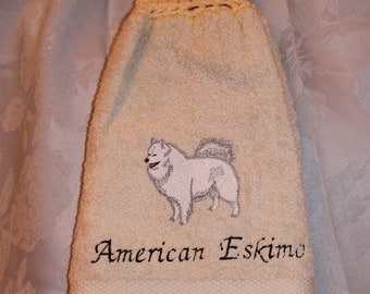 Towel - American Eskimo dog - Embroidered crochet topped hand towel (Free USA Shipping)