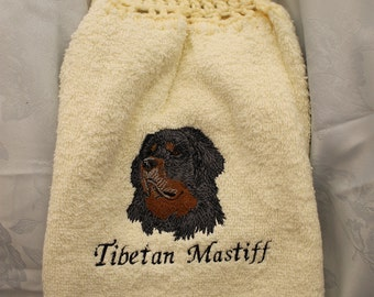 Towel - Tibetan Mastiff dog - Embroidered crochet topped hand towel (Free USA Shipping)