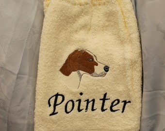 Hanging Towel - Pointer dog (head) - Embroidered crochet topped hand towel (Free USA Shipping)