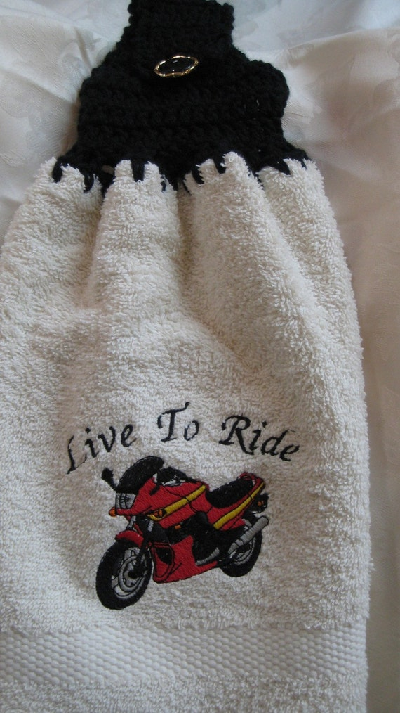 "Motorcycle Sport Bike ""Live To Ride"" - Embroidered crochet topped hand towel (Free USA Shipping)"