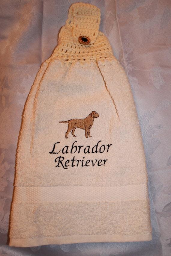 Labrador Retriever dog (yellow) - Embroidered crochet topped hand towel (Free USA Shipping)