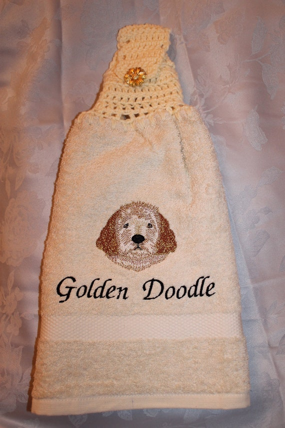 Towel - Golden Doodle dog - Embroidered crochet topped hand towel (Free USA Shipping)