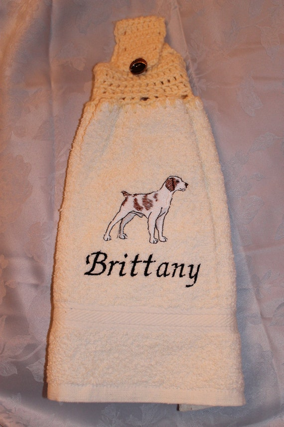 Brittany dog - Embroidered crochet topped hand towel (Free USA Shipping)