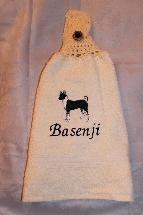 Hanging towel - Basenji dog (black) - Embroidered crochet topped (Free USA Shipping)