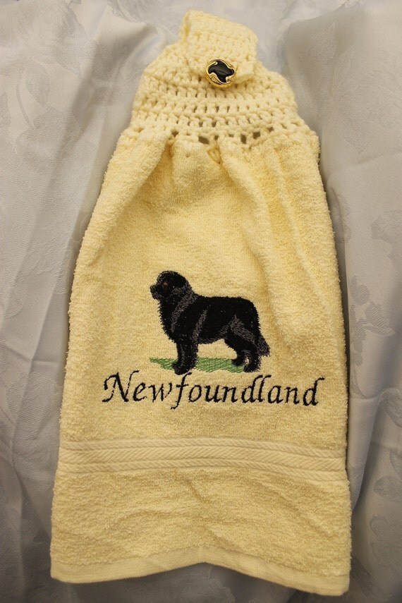 Newfoundland dog - Embroidered crochet topped hand towel (Free USA Shipping)