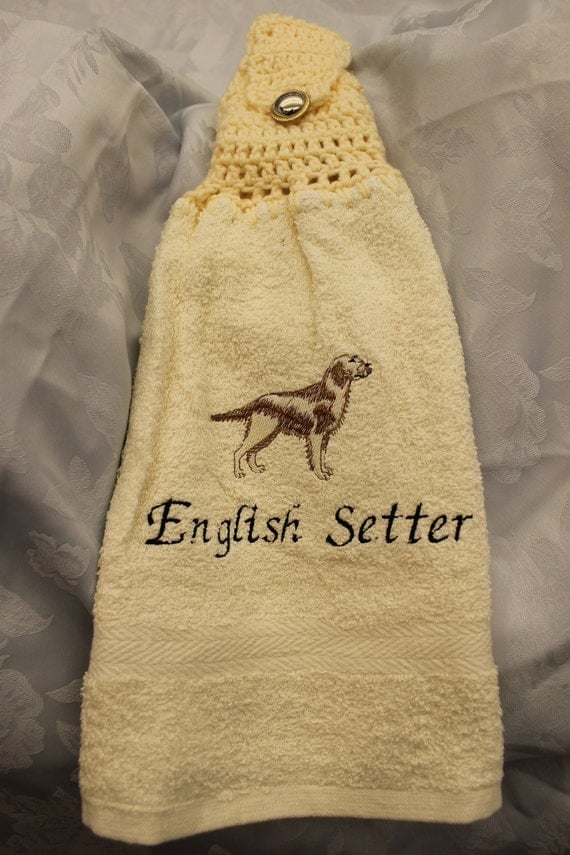 Hanging Towel - English Setter dog (tan and brown) - Embroidered crochet topped hand towel (Free USA Shipping)