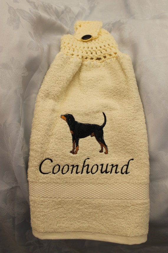 Kitchen Towel - Coonhound dog - Embroidered crochet topped hand towel (Free USA Shipping)