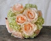Silk Wedding Bouquet, Wedding Bouquet, Keepsake Bouquet, Bridal Bouquet Coral rose and green hydrangea wedding bouquet made of silk roses.