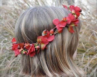 Wedding Flowers, Red, burgundy hydrangea and berry hair wreath halo