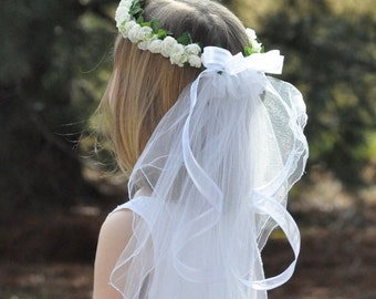 First Communion Wreath with Veil, Bridal White Hydrangea with Roses, Green Leaves and a Double Tier Veil.