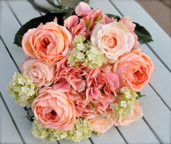 Silk Wedding Bouquet, Wedding Bouquet, Keepsake Bouquet, Bridal Bouquet Coral, salmon rose wedding bouquet.