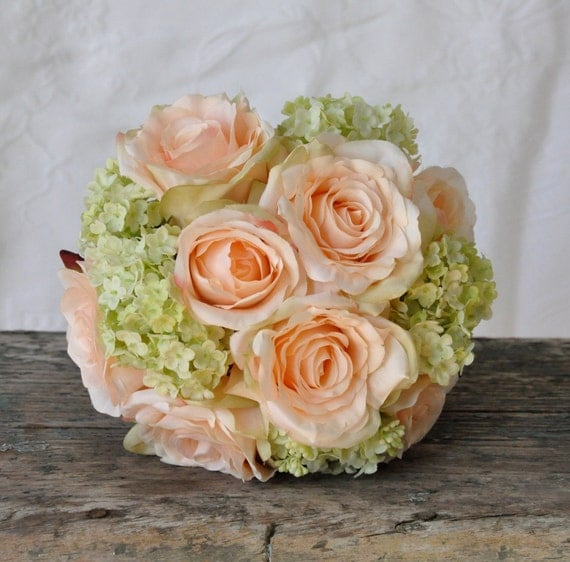 Silk Wedding Bouquet, Wedding Bouquet, Keepsake Bouquet, Bridal Bouquet Coral rose and green hydrangea wedding bouquet made of silk roses.