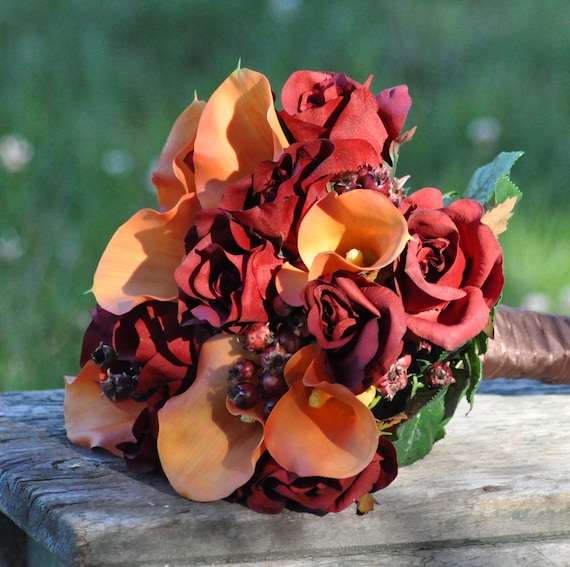 Silk Wedding Bouquet, Fall Wedding Bouquet, Keepsake Bouquet, Bridal Bouquet  made with Orange Calla Lily and Red Rose silk flowers.