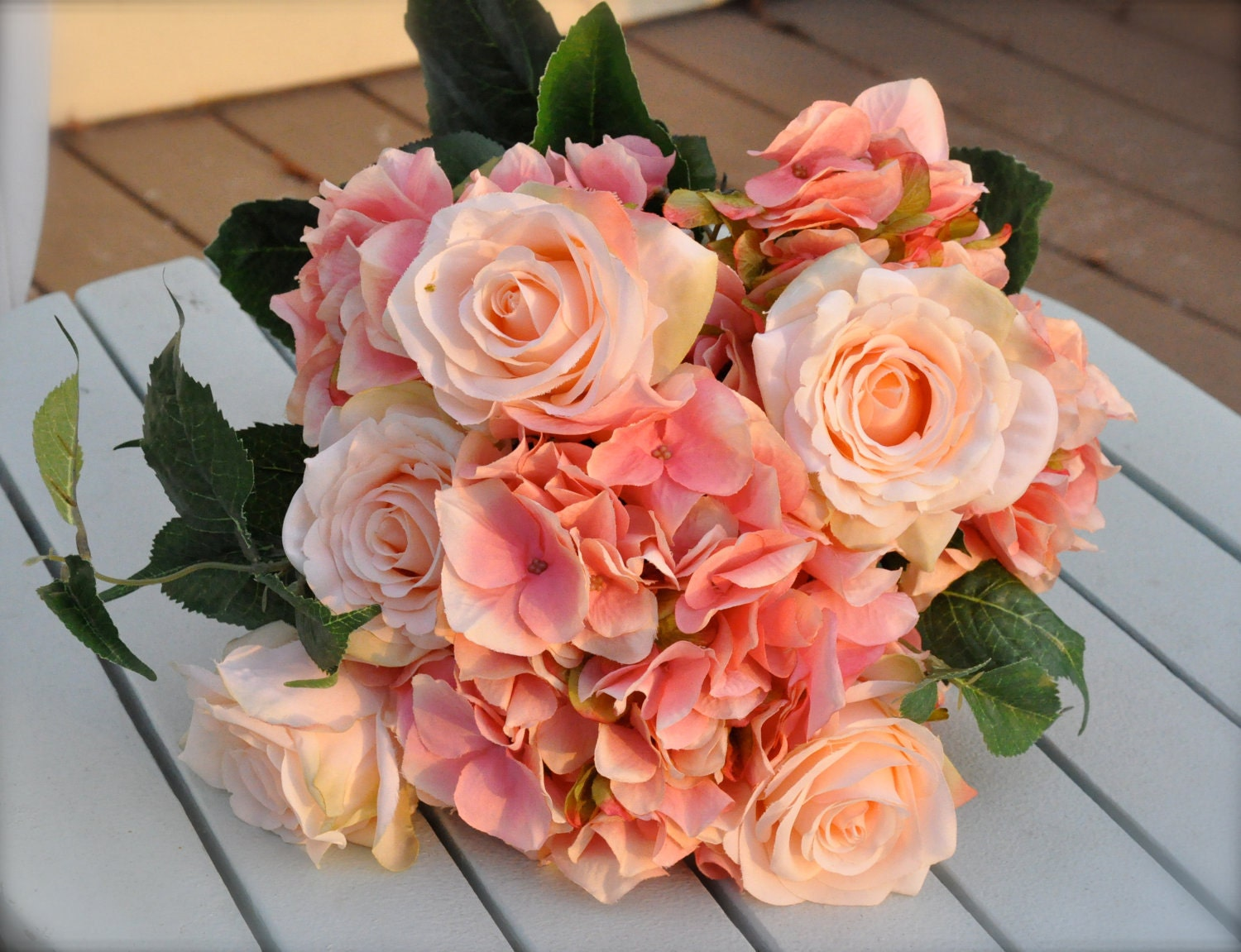 Coral salmon rose wedding bouquet for Bouquets de roses