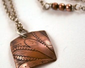Etched Copper and Sterling Silver Necklace