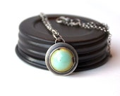 Sterling Silver and Aqua Enamel Necklace
