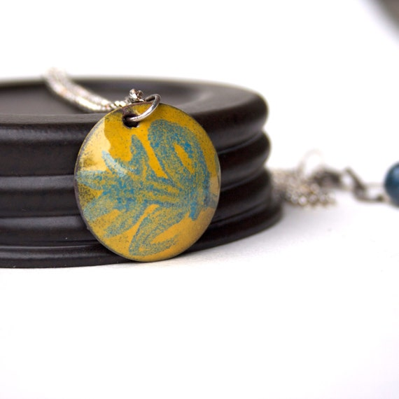 Enamel Necklace Copper and Sterling Silver
