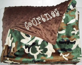 Minky Blanket.. Camouflage Minky with Brown minky dot, includes one name embroidery.