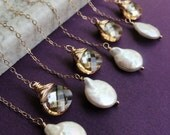 Eight crystal necklaces for bridesmaids, bridesmaid gifts, lariat necklace, Gold Fill, pearl necklaces, bridal