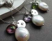 Bridesmaid Gifts, Set of THREE Personalized Necklaces, Custom Birthstone & Initial, Freshwater pearl pearl, Sterling silver jewelry