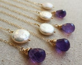 Bridesmaid Gifts set of NINE Purple Amethyst Necklaces, Amethyst & pearl Lariat necklaces, custom stone, gold fill, bridesmaid lariats